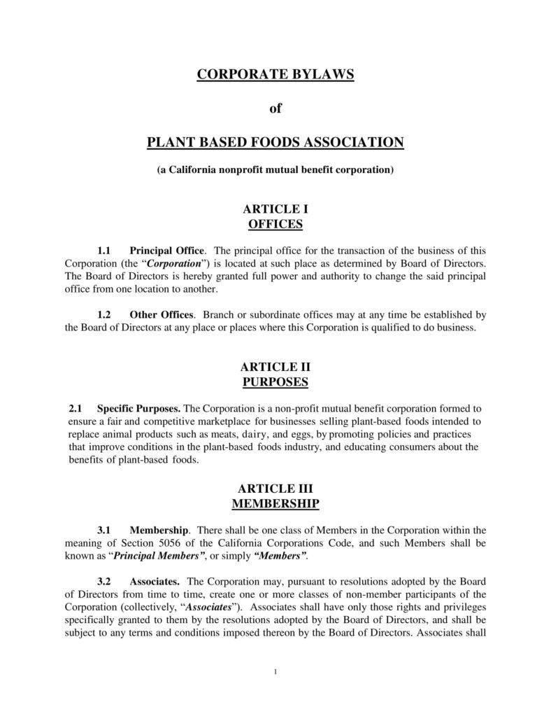 Bylaw Template For Non Profit