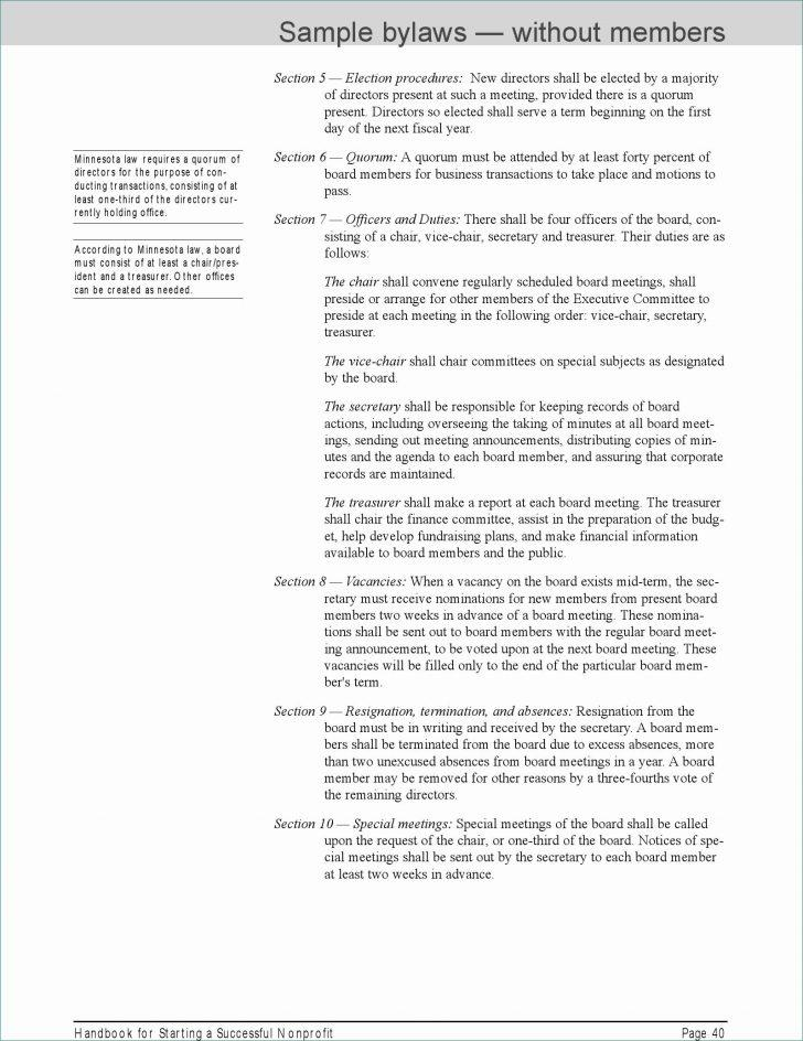 Bylaws For Non Profit Template