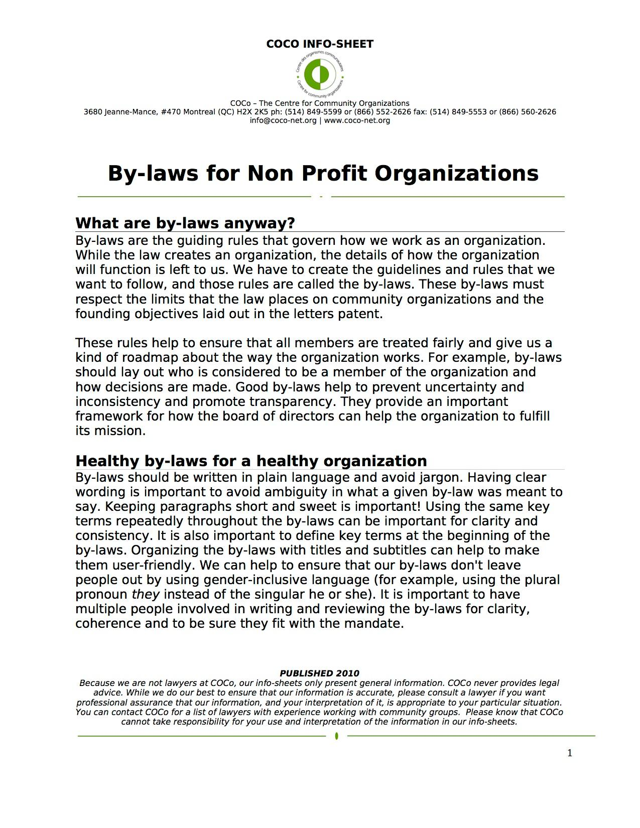 Bylaws Nonprofit Template