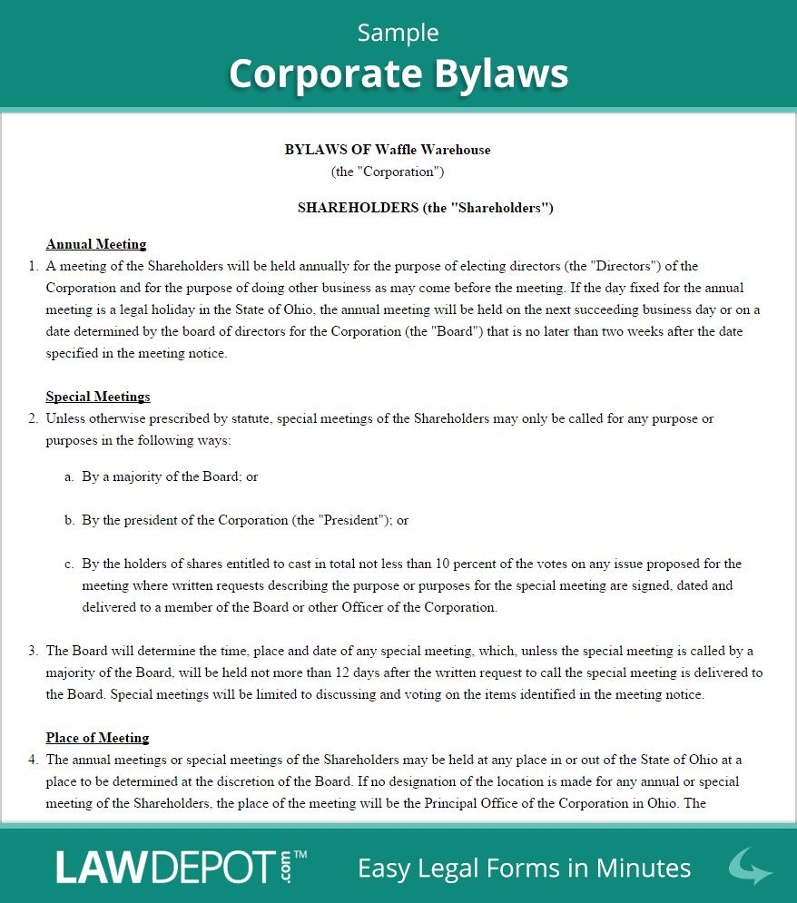 Bylaws Sample Format