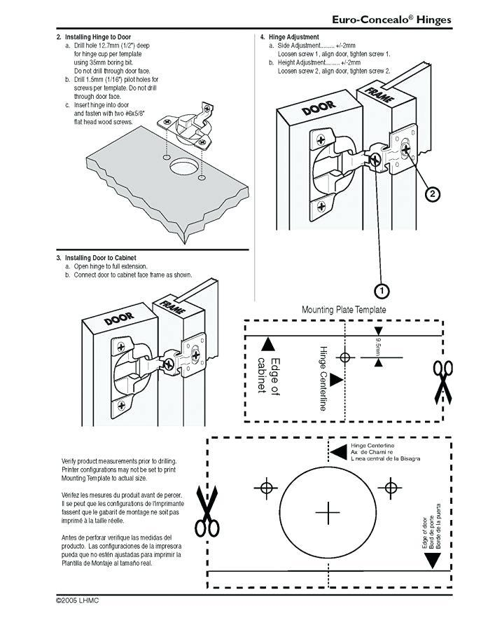 Cabinet Hinge Template