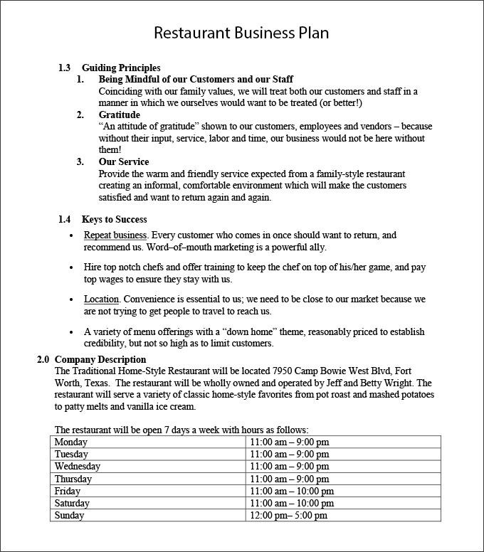 Cafe Business Plan Template Word