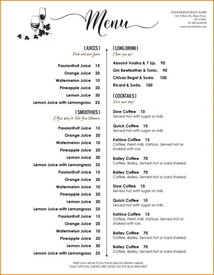 Cafe Menu Template Free Word