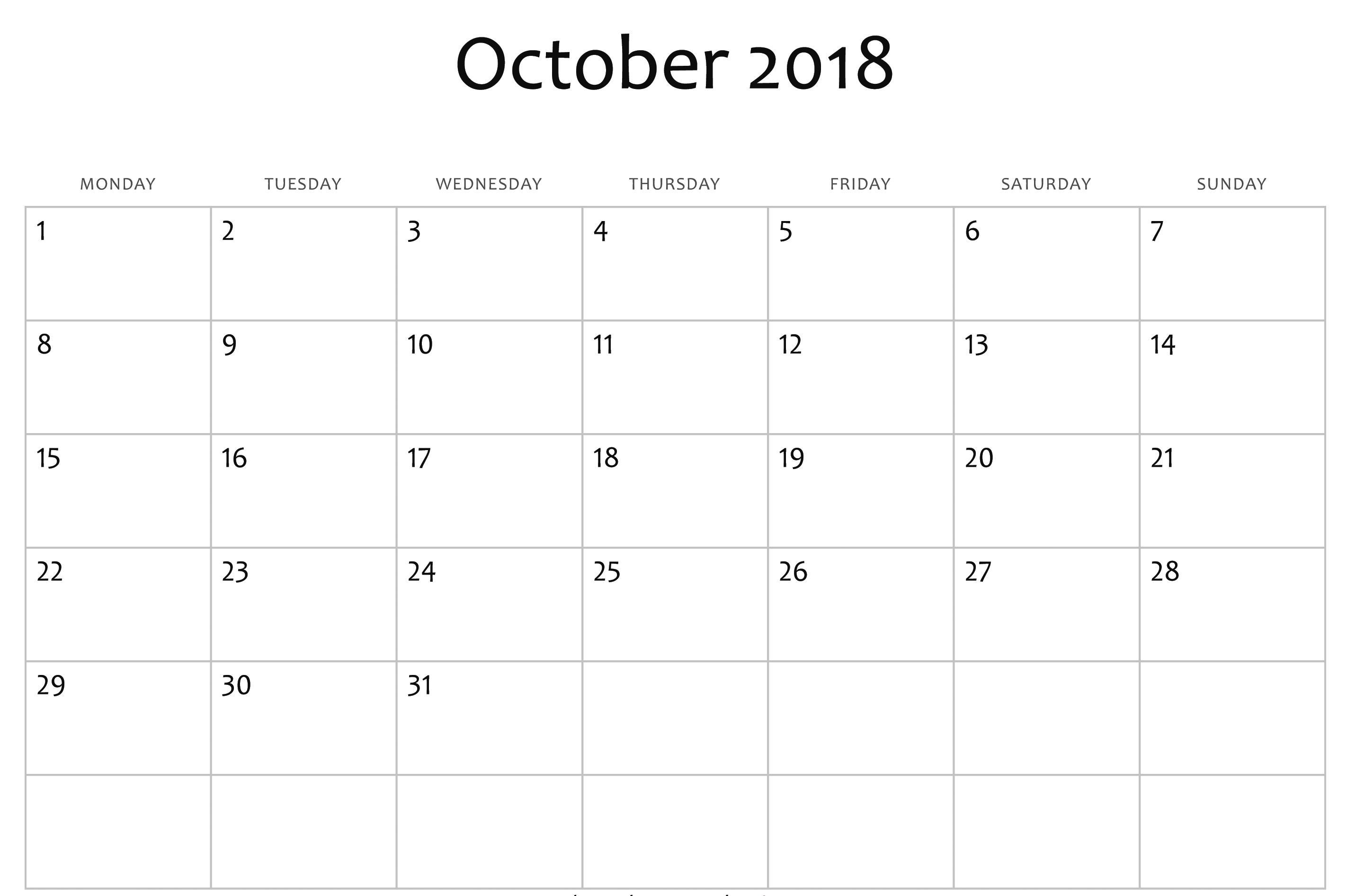 Calendar Editable Template 2018