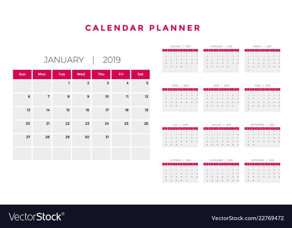 Calendar Planner Template 2019