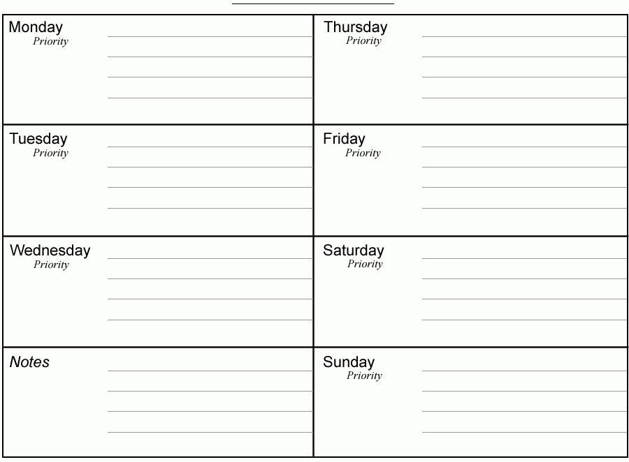 Calendar Planner Template Weekly