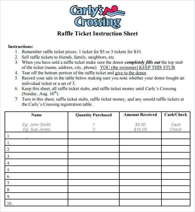 Calendar Raffle Ticket Template