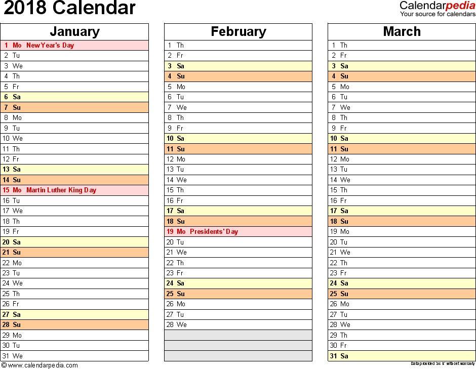 Calendar Template For Excel 2018