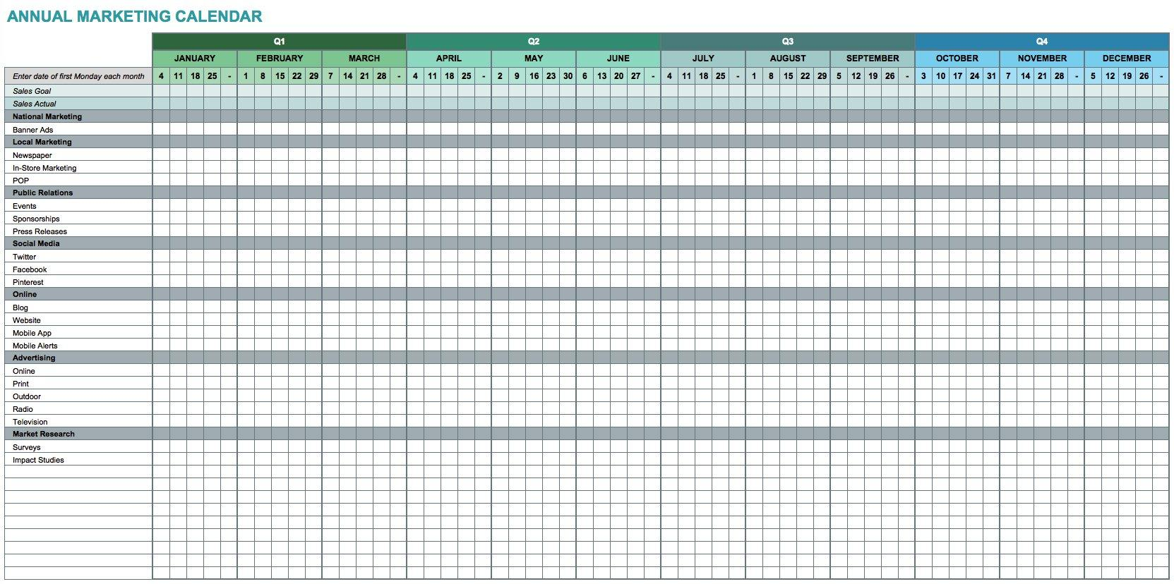 Calendar Template For Excel Free