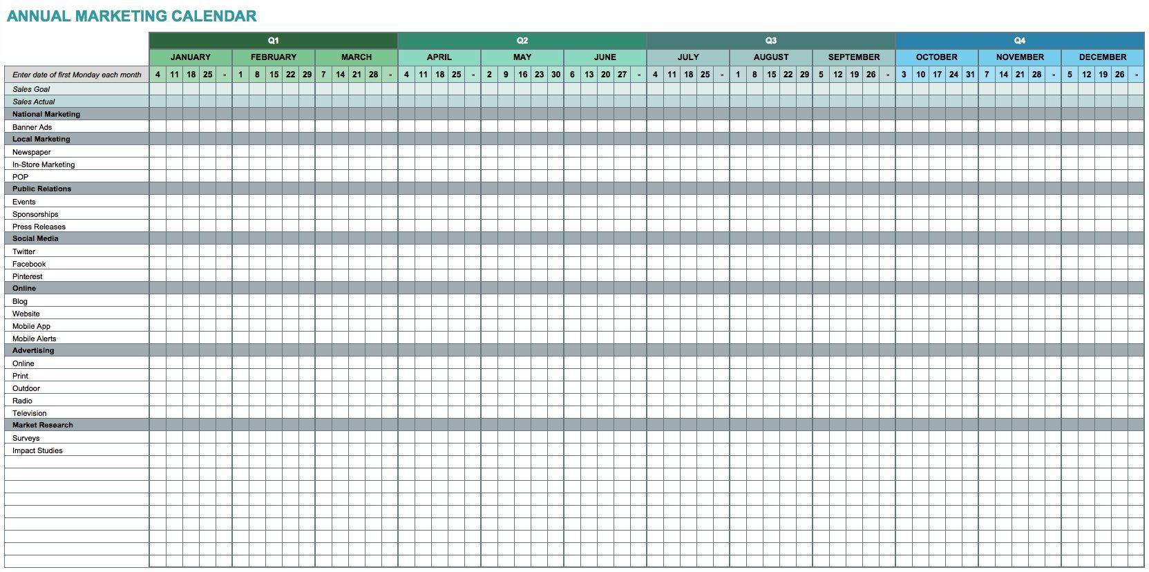 Calendar Template For Excel