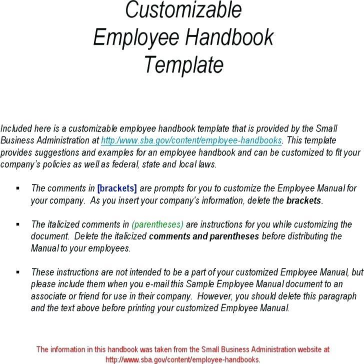 California Employee Handbook Template 2018