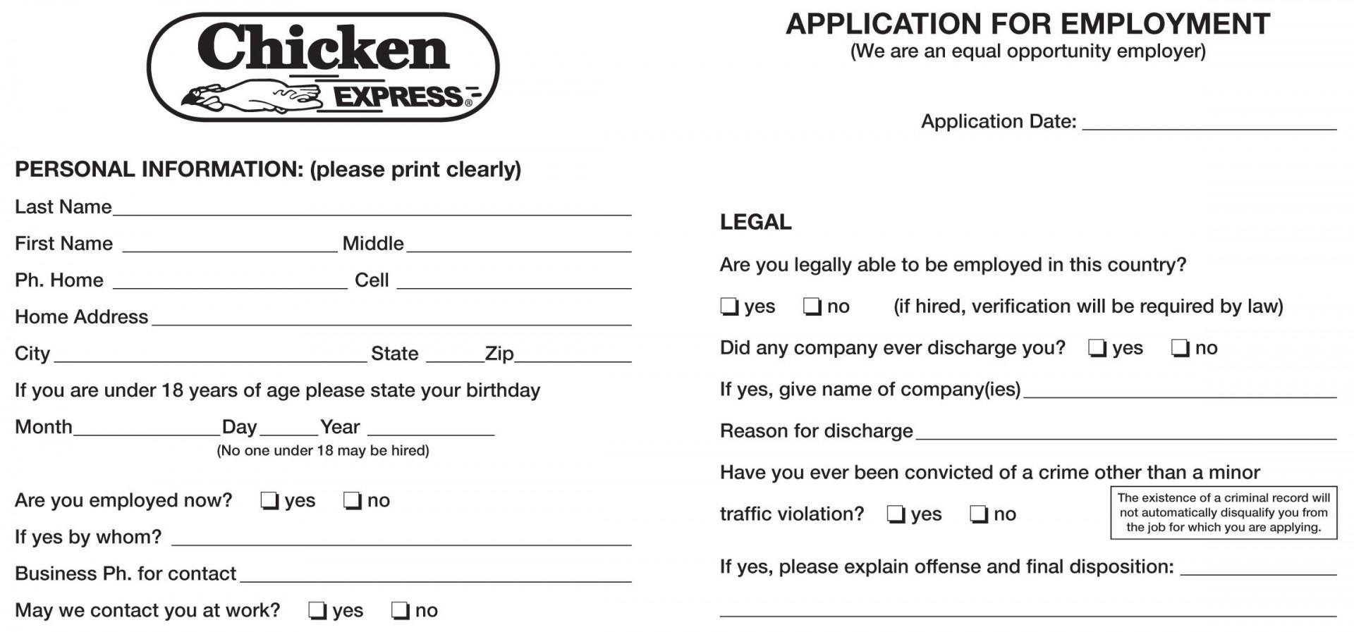 California Employment Application 2018 Template