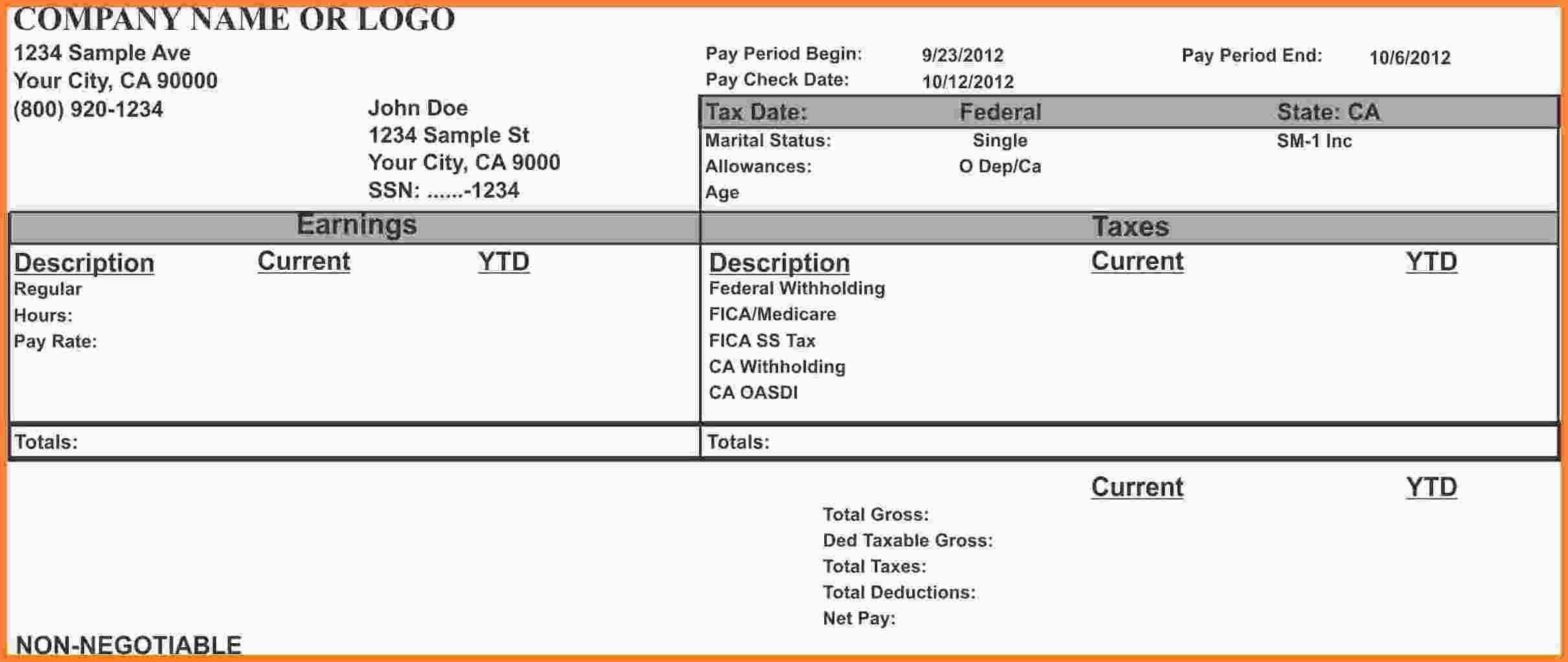 California Pay Stub Sample