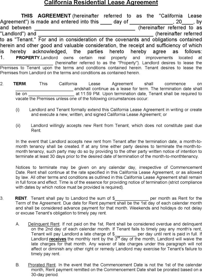 California Rental Lease Agreement Forms