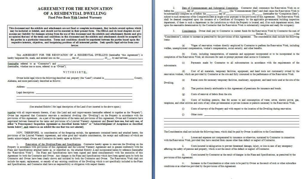 California Residential Construction Contract Template