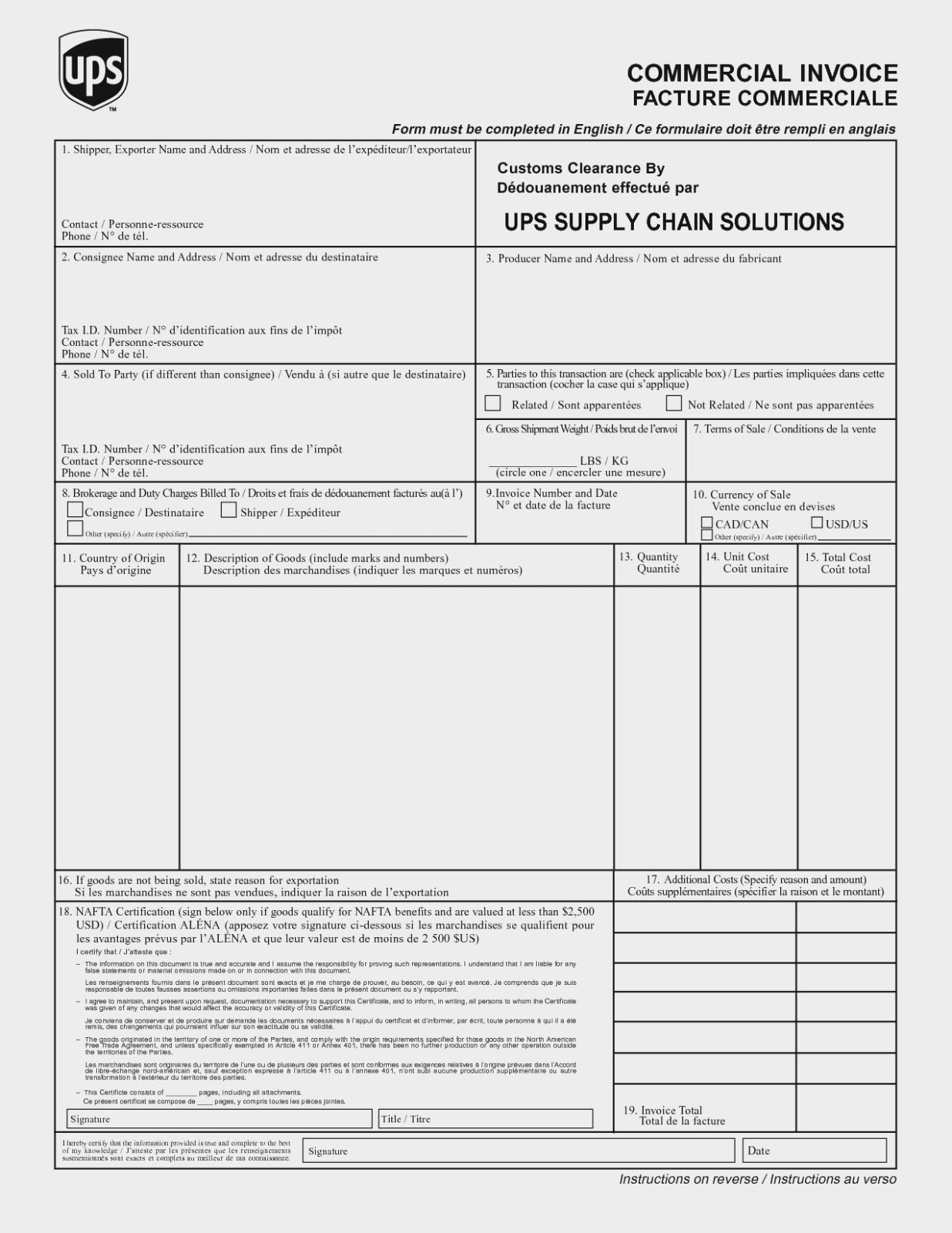 Canada Customs Invoice Document