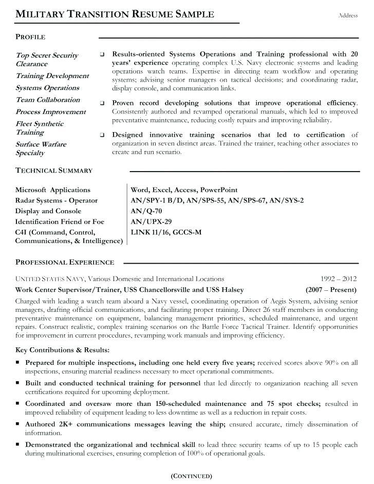 Canadian Military To Civilian Resume Examples