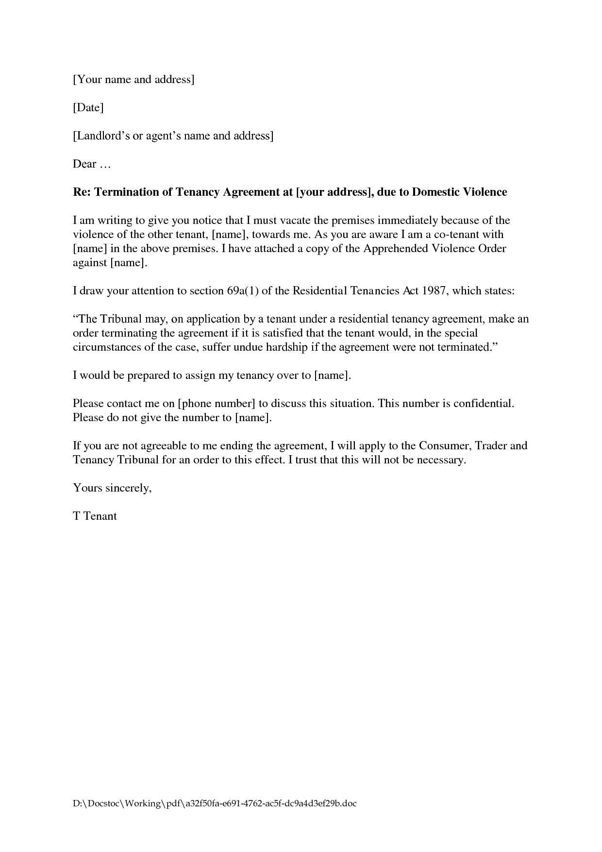 Cancellation Of Tenancy Agreement Template