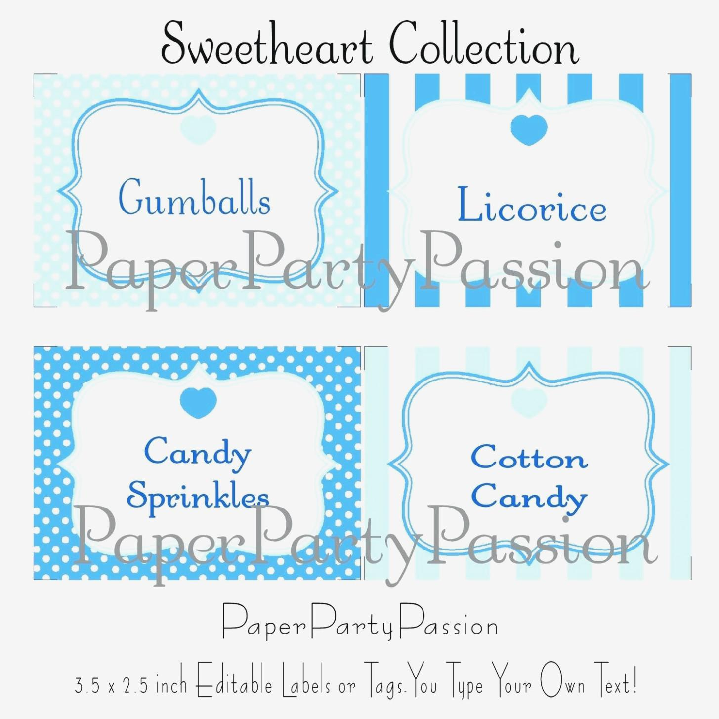 Candy Buffet Labels Template Free
