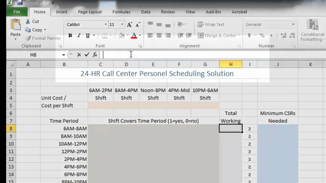 Capacity Planning Template For Call Center