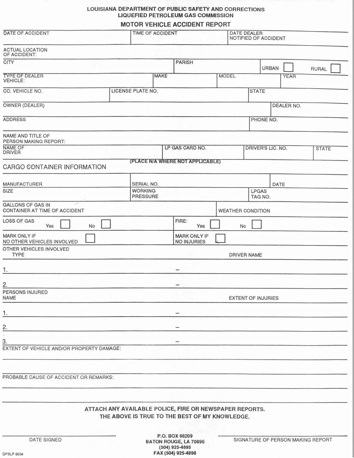 Car Accident Forms Templates