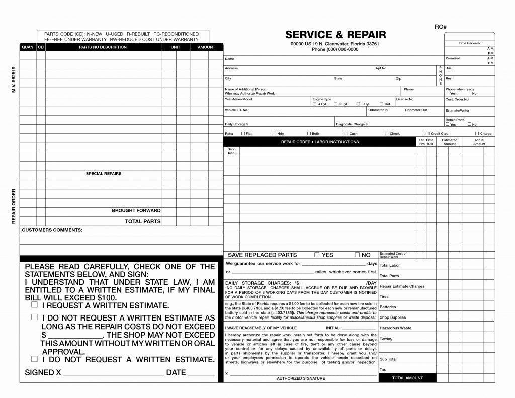 Car Body Repair Invoice Template