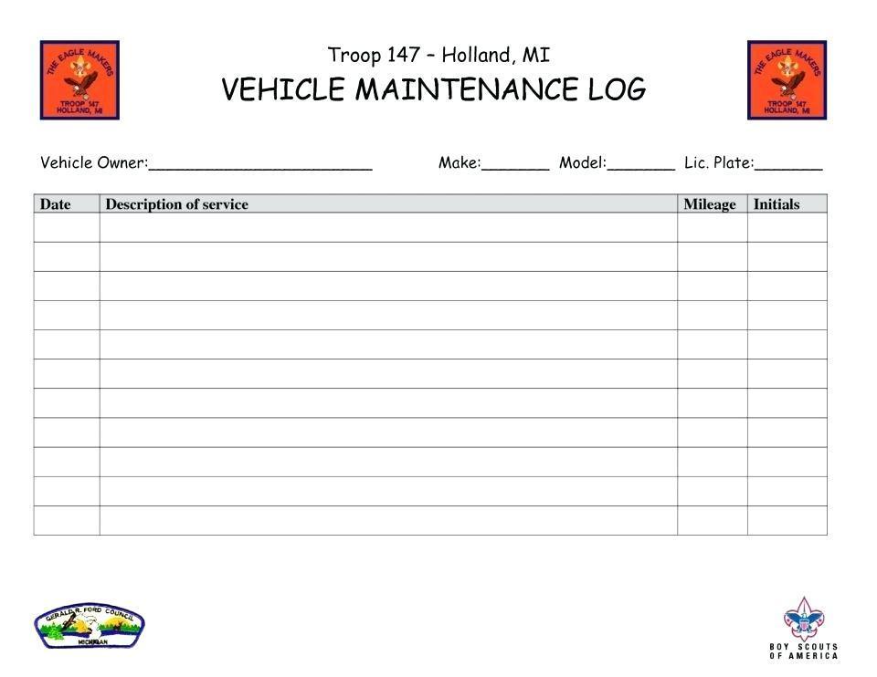 Car Expense Log Book Template