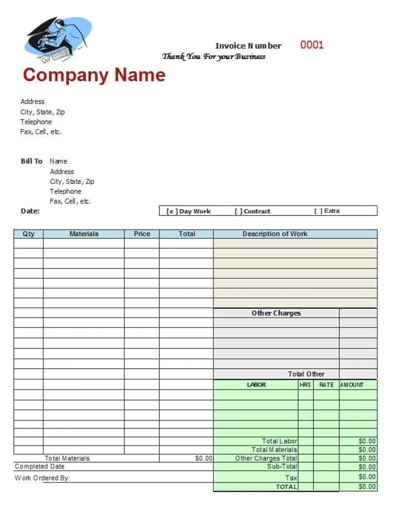 Car Garage Invoice Template