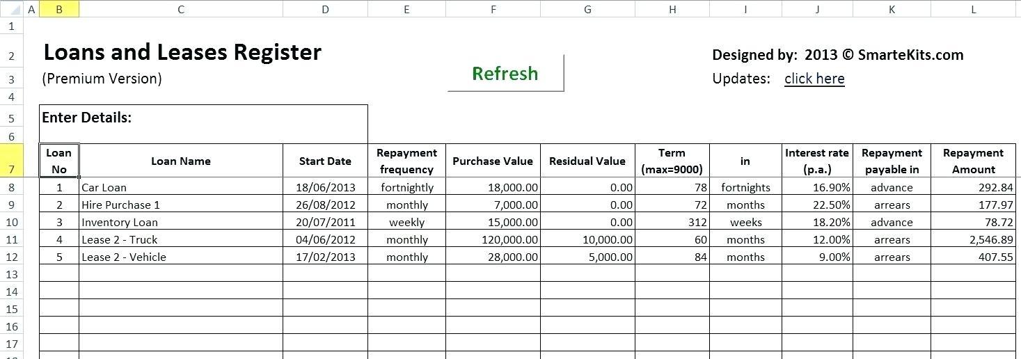 Car Lease Template Excel
