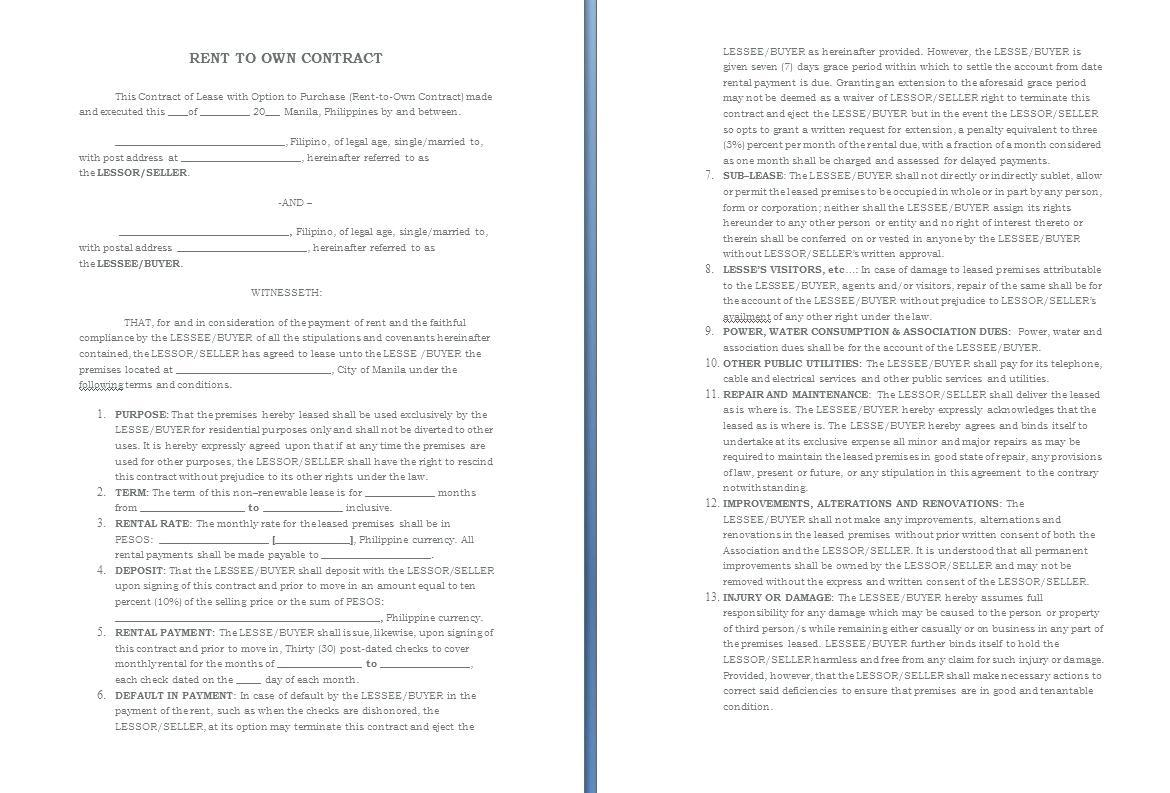 Car Rent To Buy Contract Template