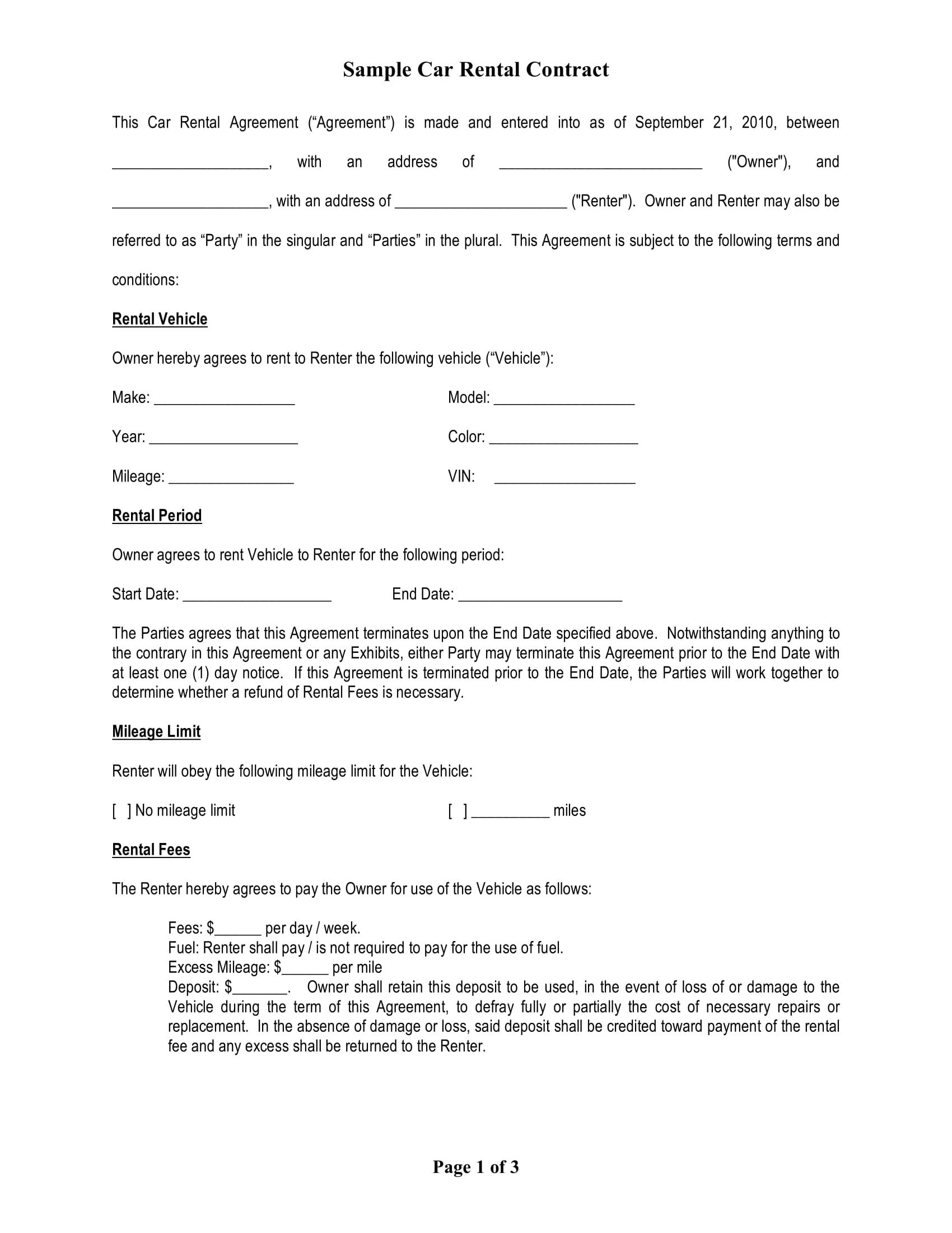 Car Rental Agreement Word Template