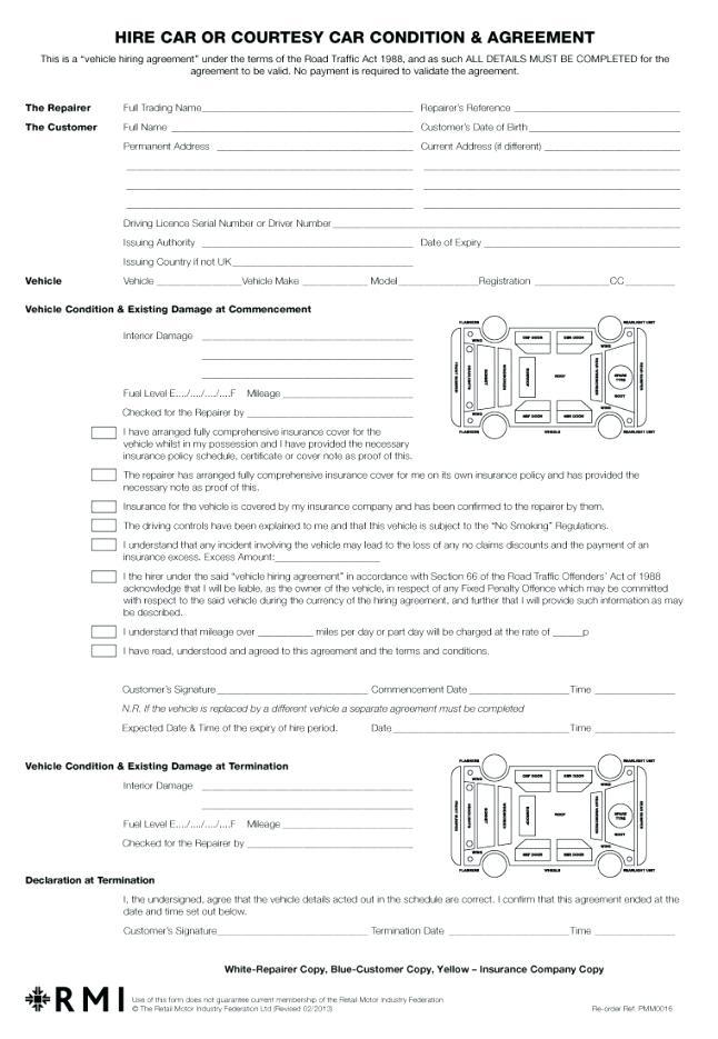 Car Rental Contract Sample Template