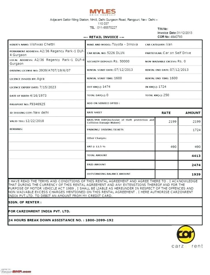 Car Rental Receipt Template Word
