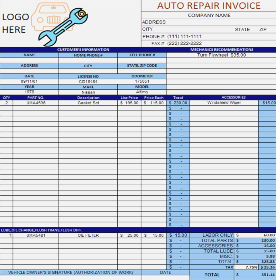 Car Repair Invoice Template Excel