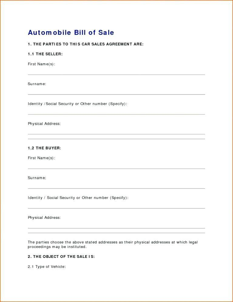 Car Sale Contract Template Pdf