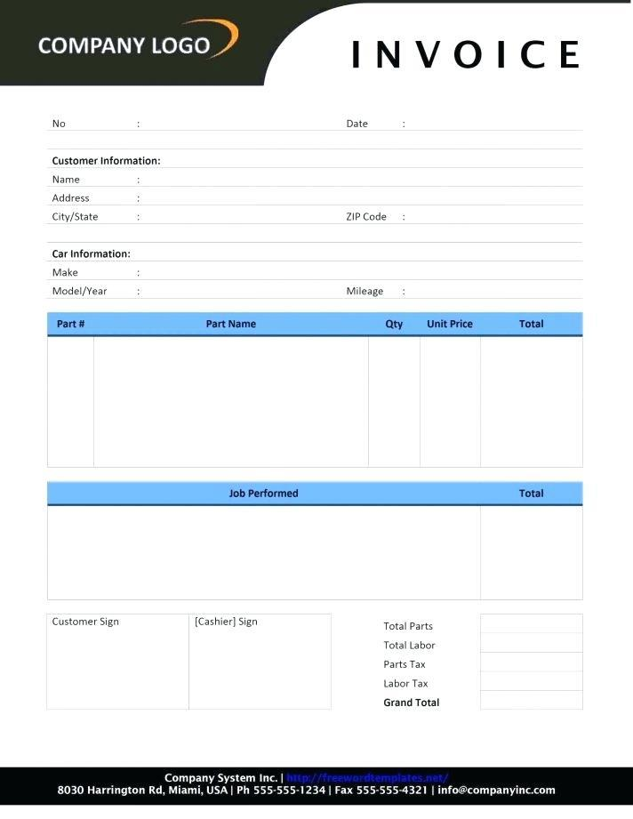 Car Sale Invoice Template Free