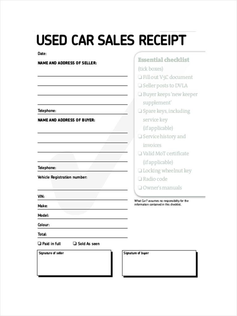 Car Sale Receipt Template India