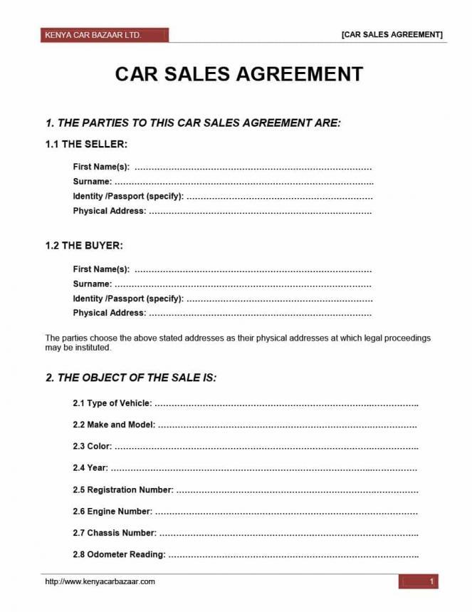 Car Sales Agreement Template