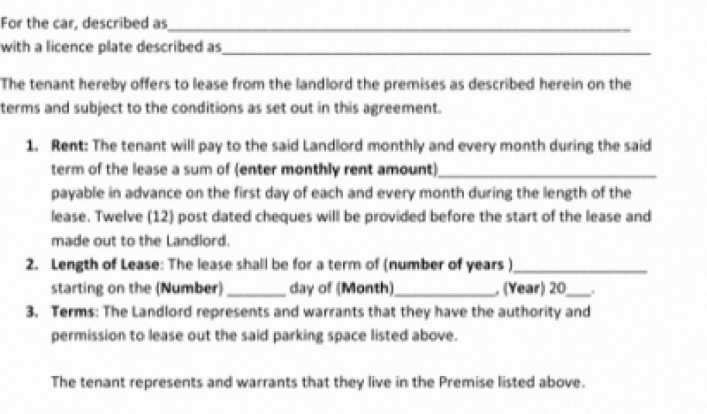 Car Space Rental Agreement Template