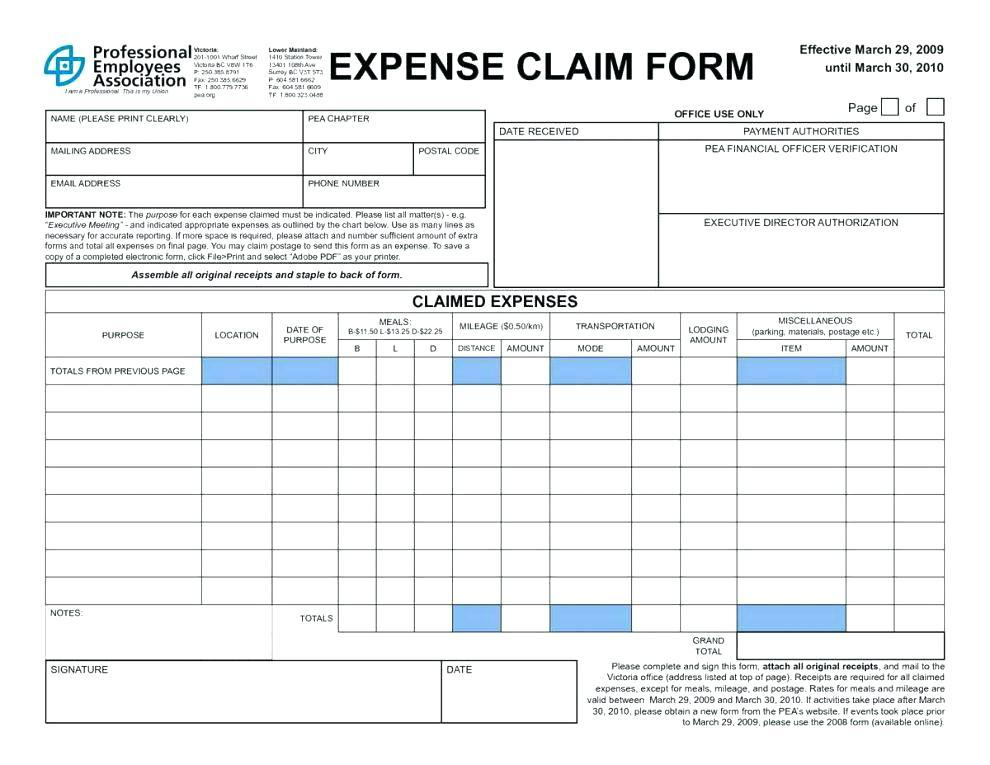 Car Travel Expenses Form Template