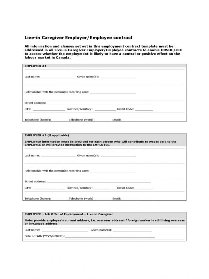 Caregiver Contract Template South Africa
