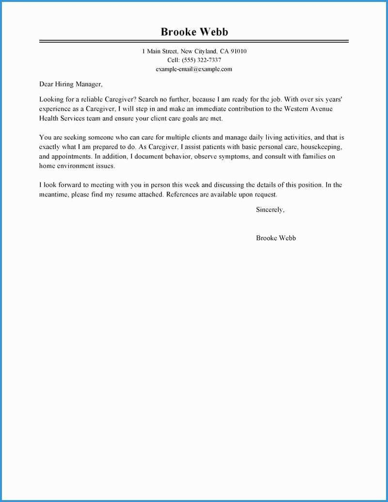 Caregiver Cover Letter Templates Free