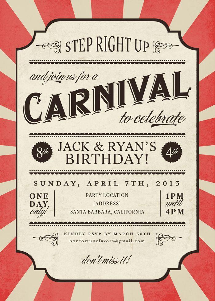 Carnival Birthday Invitations Template