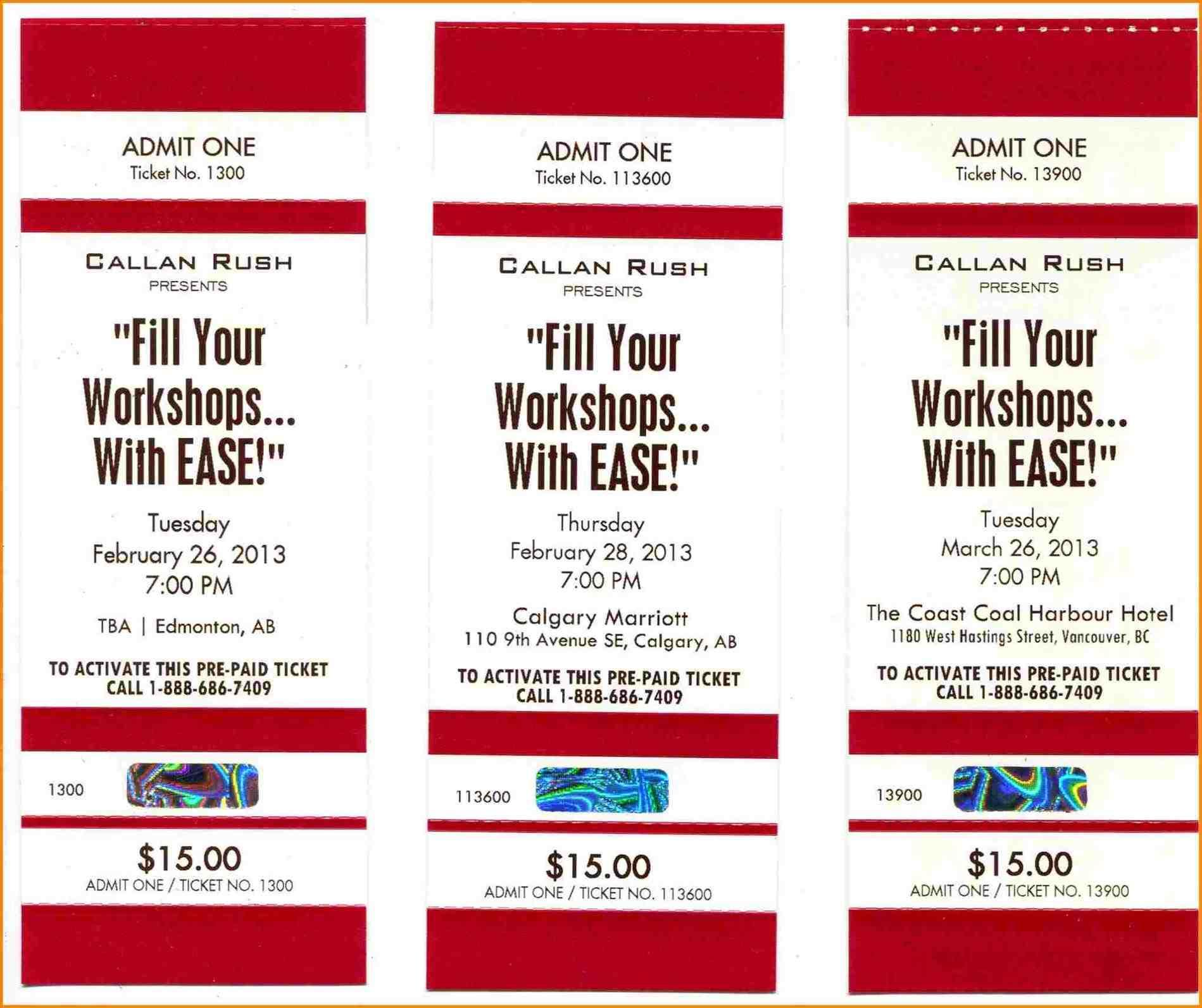 Carnival Ticket Template Free Download