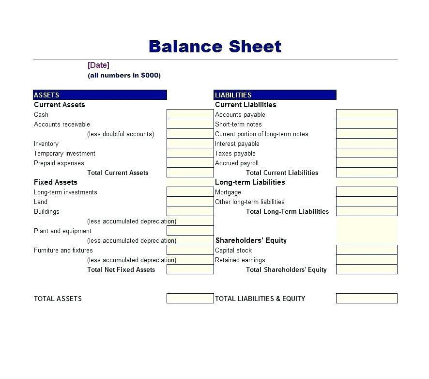 Cash Accounting Balance Sheet Template