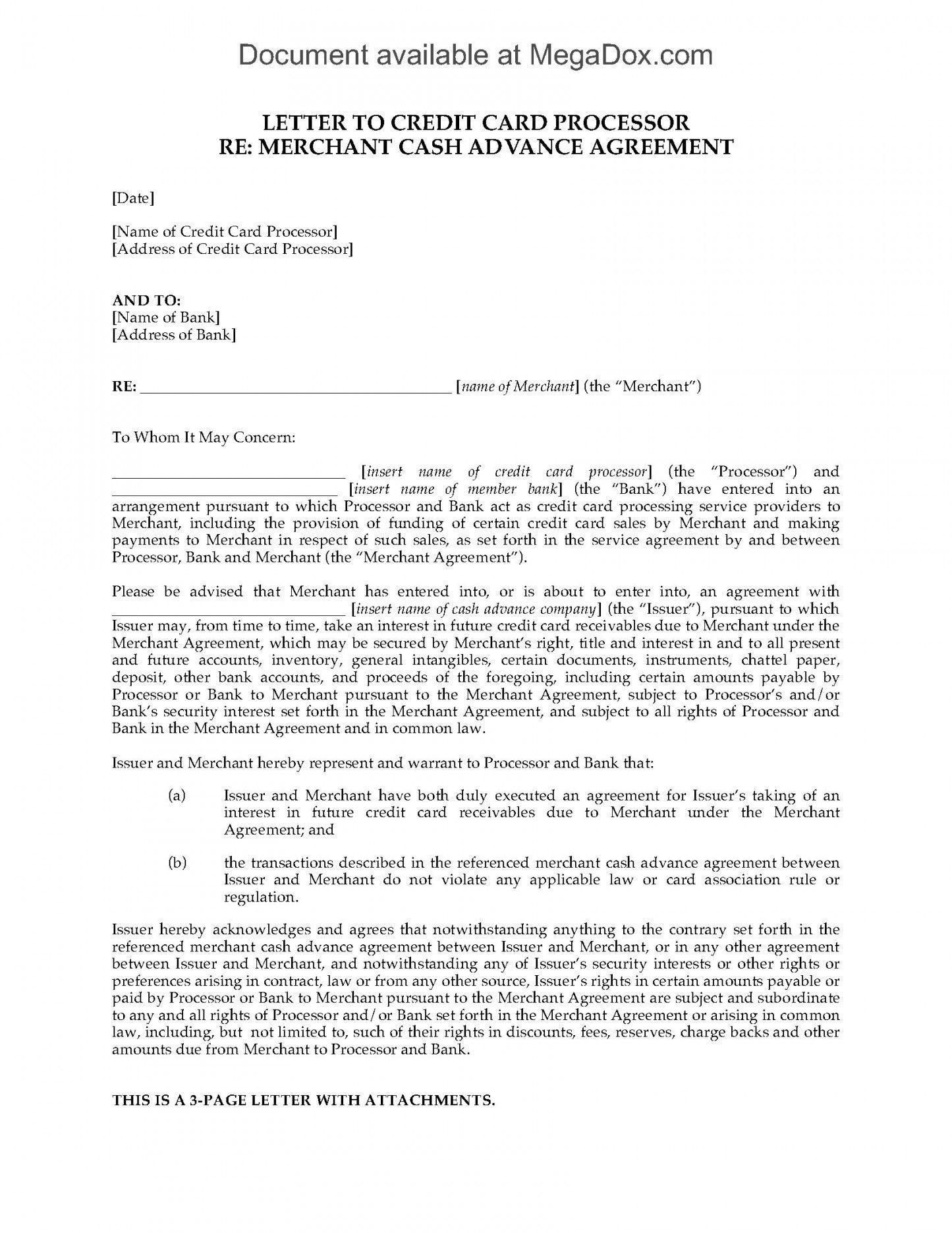 Cash Advance Agreement Template