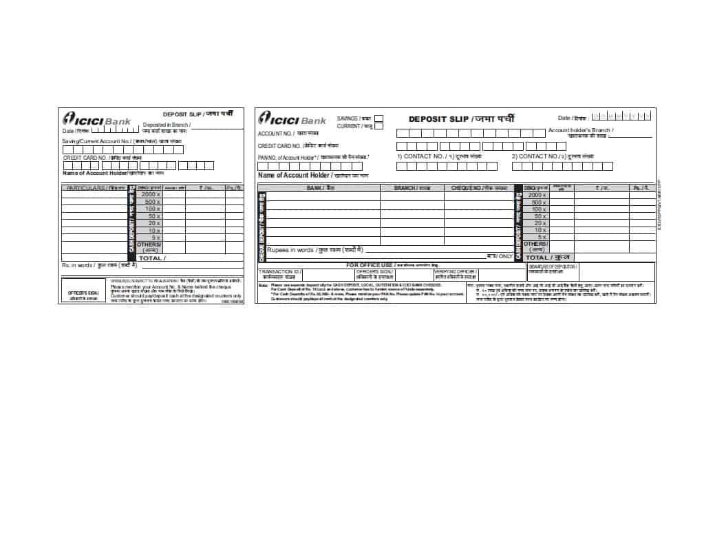 Cash Deposit Slips Template