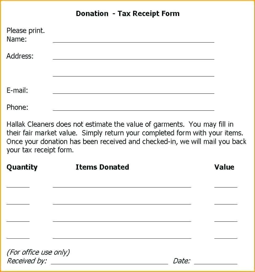 Cash Donation Receipt Form