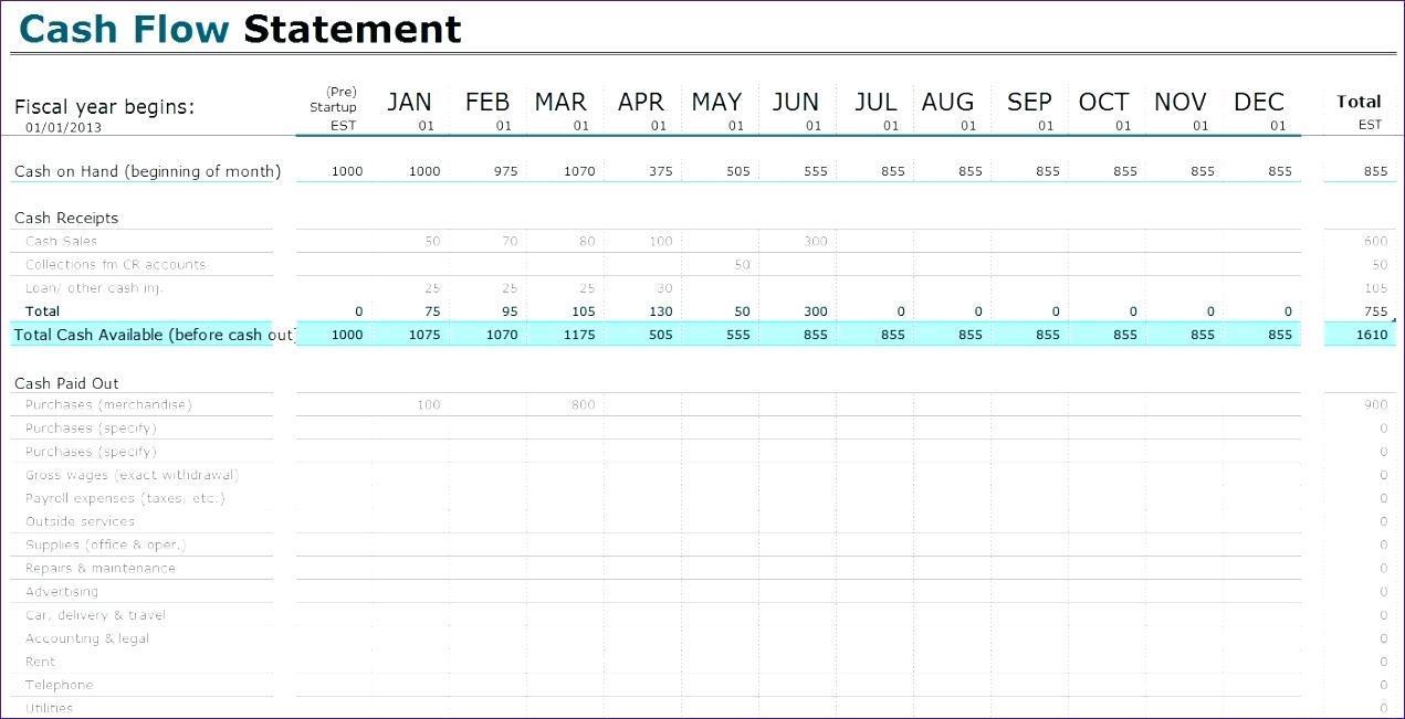 Cash Flow Spreadsheet Template