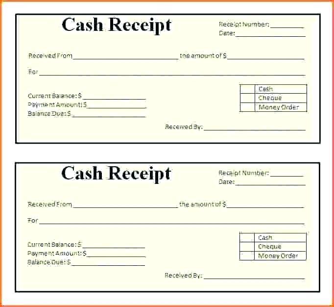 Cash Receipt Template Word Format